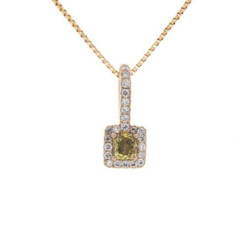 YELLOW CUSHION CUT DIAMOND .31 CT