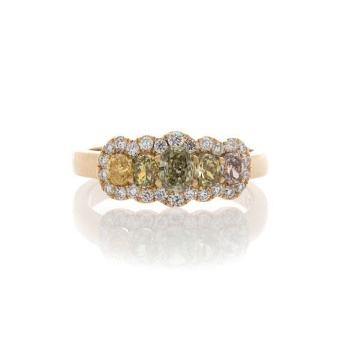 MULTICOLOR DIAMOND 5 STONE RING