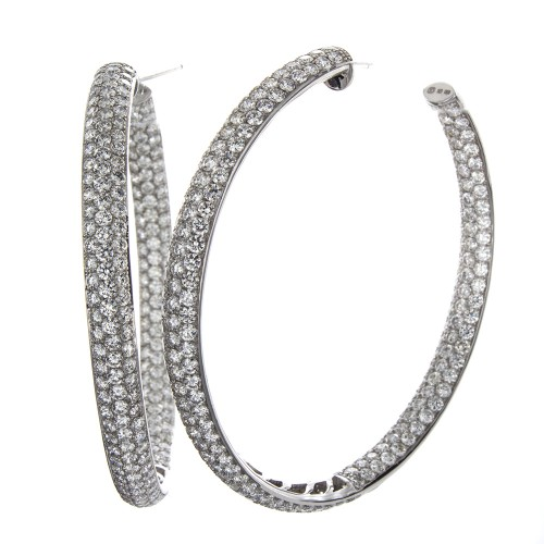 3-ROW DIAMOND HOOPS