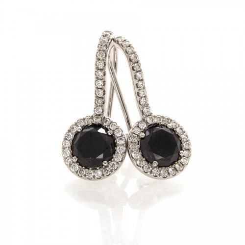 BLACK DIAMOND EARRINGS 2.16 CTS