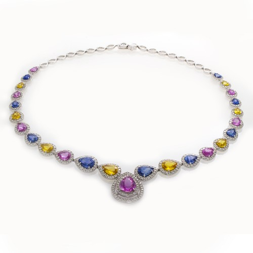 MULTI COLOR SAPPHIRE & DIAMOND NECKLACE
