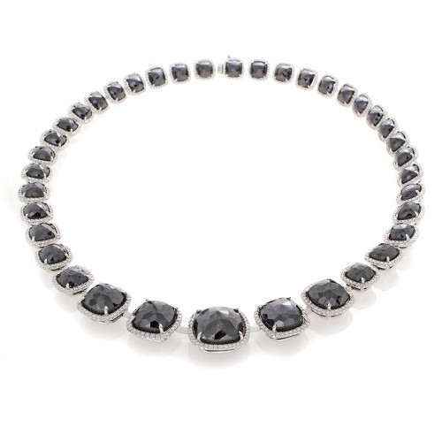 BLACK DIAMOND CUSHION CUT NECKLACE