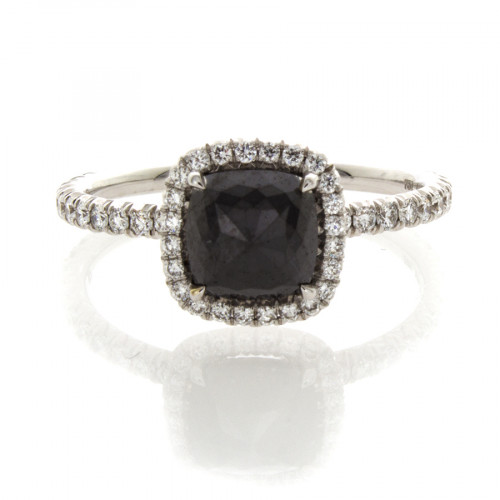 CUSHION CUT BLACK DIAMOND 1.09 CT