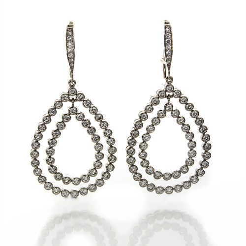 DIAMOND DOUBLE LOOP EARRINGS