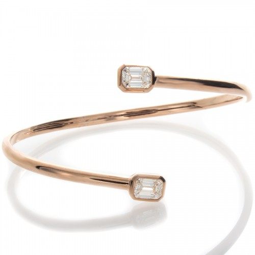 EMERALD CUT DIAMOND PINK GOLD BANGLE