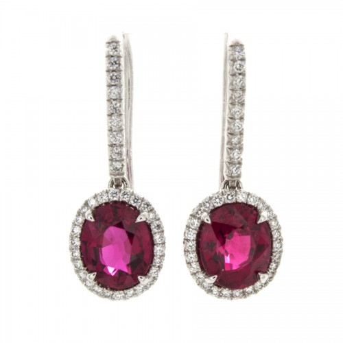 OVAL RUBY EARRINGS 2.77 CTS