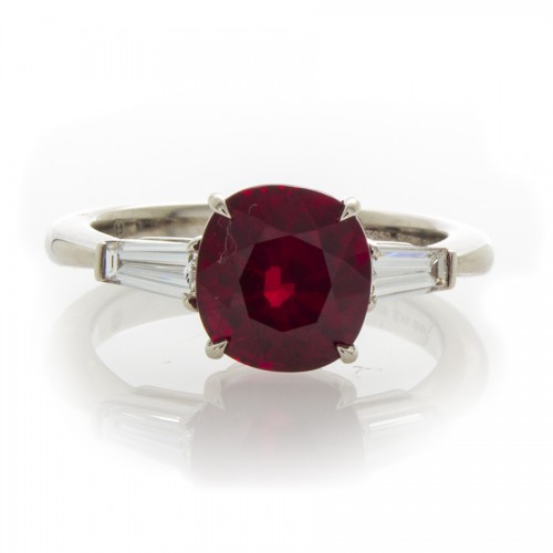 CUSHION RUBY AND DIAMOND RING