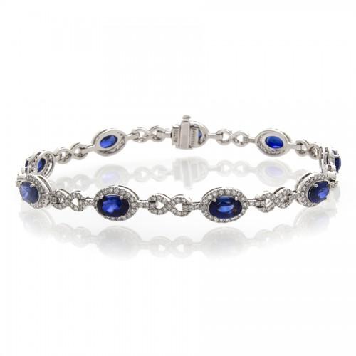 BLUE SHAPHIRE  AND DIAMOND BRACELET