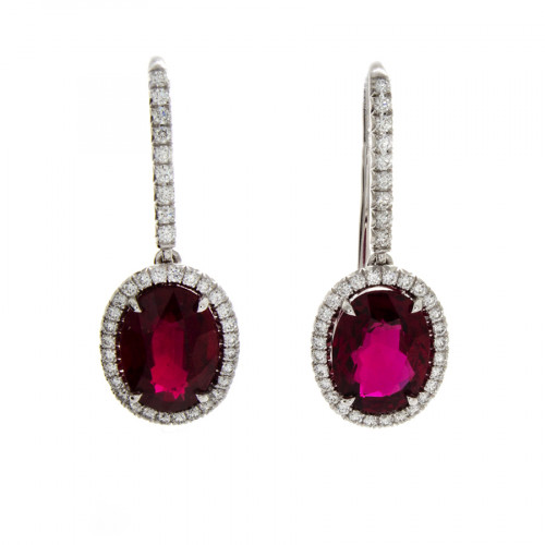OVAL RUBY EARRINGS 3.74 CT