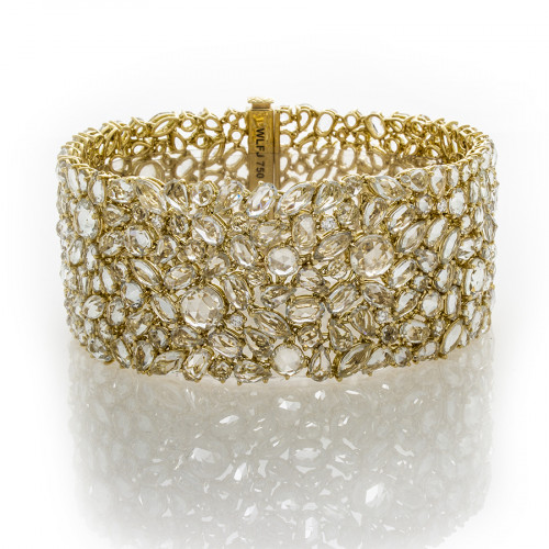 WHITE SAPPHIRES YELLOW GOLD BRACELET