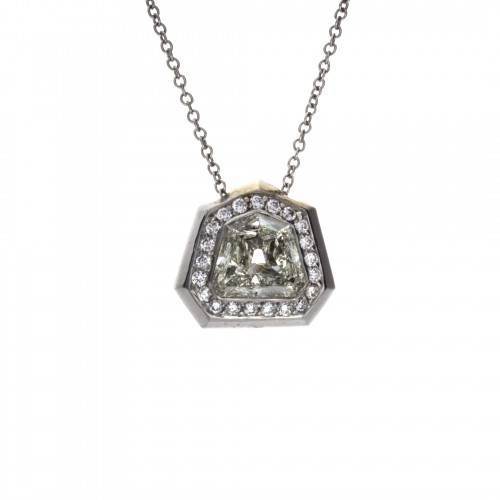 TRAPEZOID DIAMOND BEZEL SET PENDANT