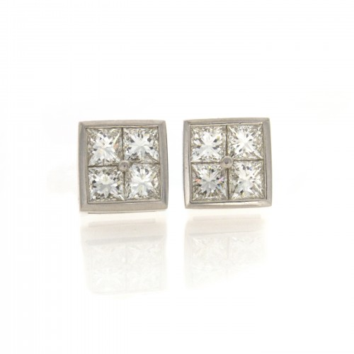 PRINCESS CUT PLATINUM EARRINGS