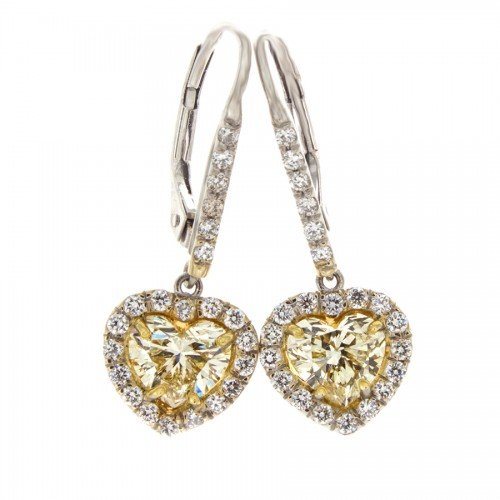 LIGHT YELLOW HEART SHAPE DIAMONDS 1.52 CTS