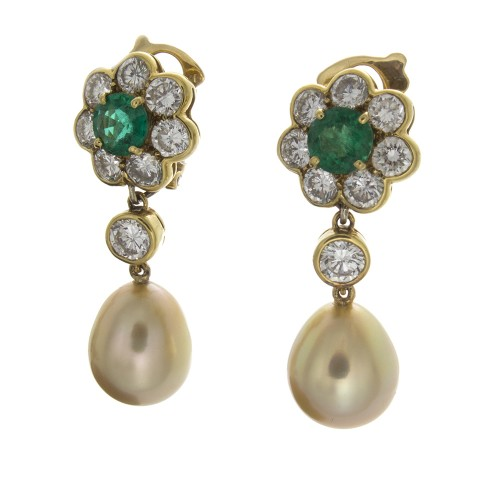 GOLDEN PEARL AND EMERALD EARRINGS