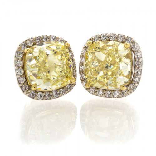 FANCY YELLOW CUSHIONS 6.77 CT