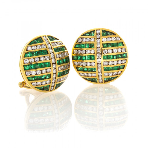 EMERALD AND DIAMOND BUTTON EARRINGS