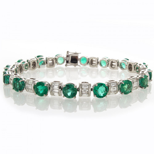 EMERALD & BAGUETTE DIAMOND BRACELET