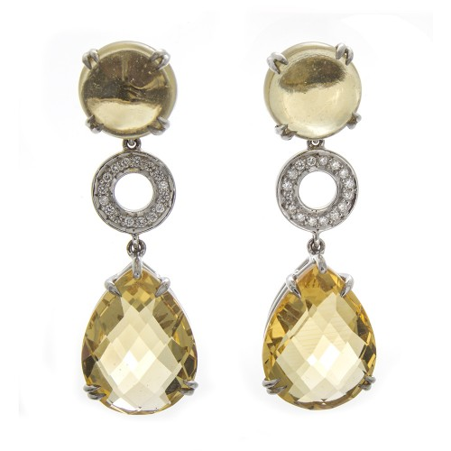 CITRINE & DIAMOND DANGLES