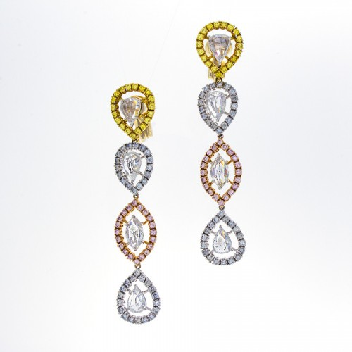 FANCY COLOR & ROSECUT DROP EARRINGS