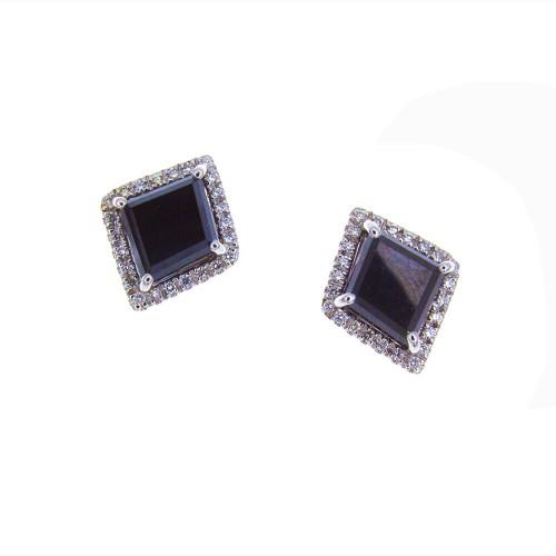DIAMOND SHAPE BLACK DIAMOND STUDS