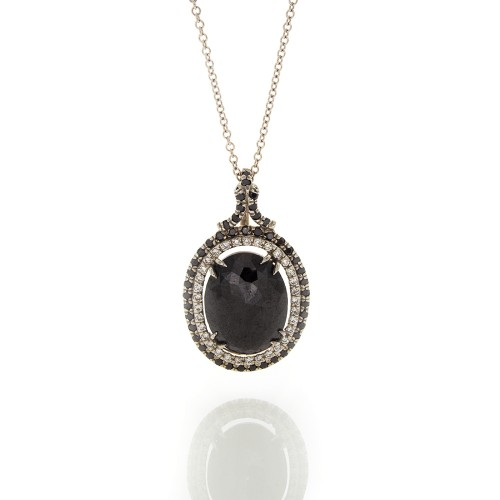 OVAL BLACK DIAMOND PENDANT