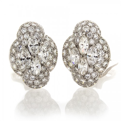 PLATINUM DIAMOND EARRINGS 7.20 CT TW