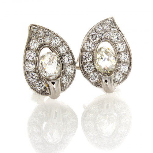 PLATINUM & DIAMOND LEAF EARRINGS