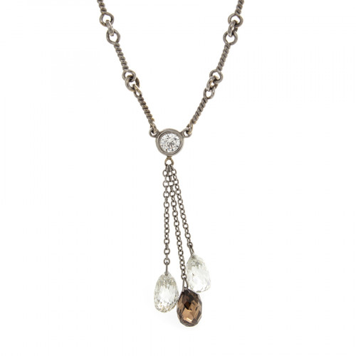BROWN & WHITE BRIO NECKLACE