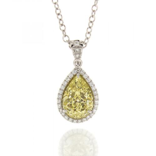 FANCY YELLOW PEAR SHAPE DIAMOND 1.51 CT