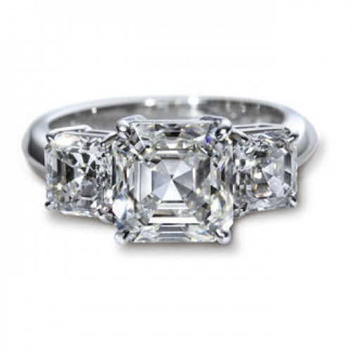 3 stone Asscher cut Ring