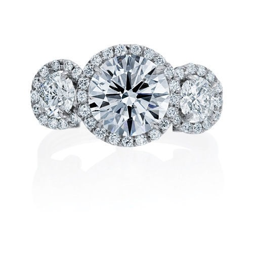 3-STONE HALO BRILLIANT DIAMOND RING
